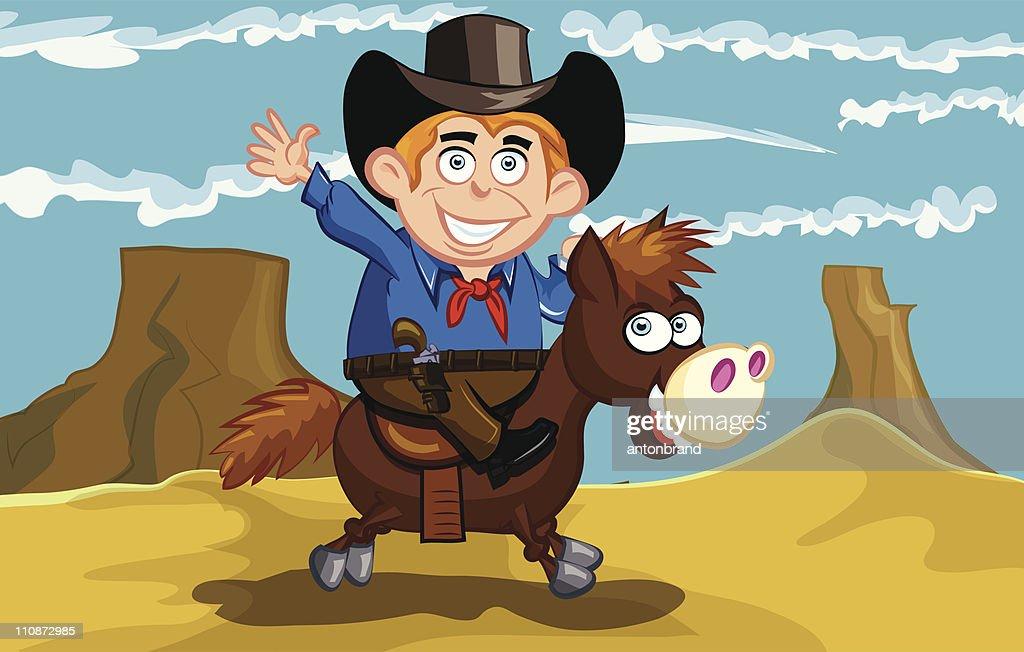 Cartoon cowboy riding a horse in the desert : Vector Art