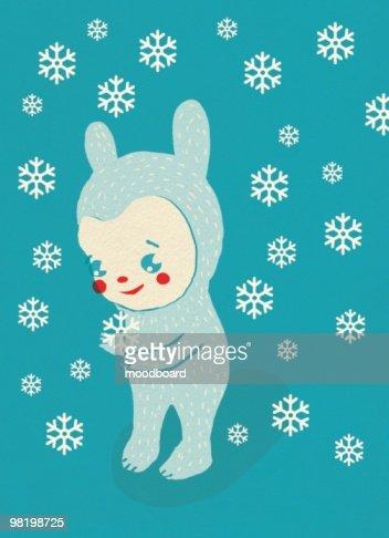Cartoon creature stands in winter snow : Stock Illustration