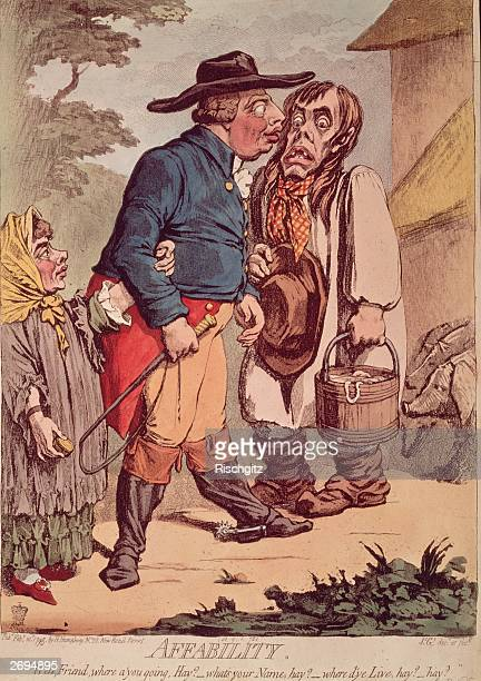 A cartoon depicting King George III known as 'Farmer George' with his wife Queen Charlotte talking to a farm hand The cartoon is entitled...