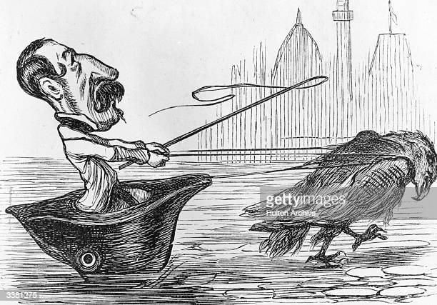 A cartoon depicting Napoleon III riding in a hat pulled by a bird This caricature is entitled 'The Thin End Of The Wedge' and appeared in the...