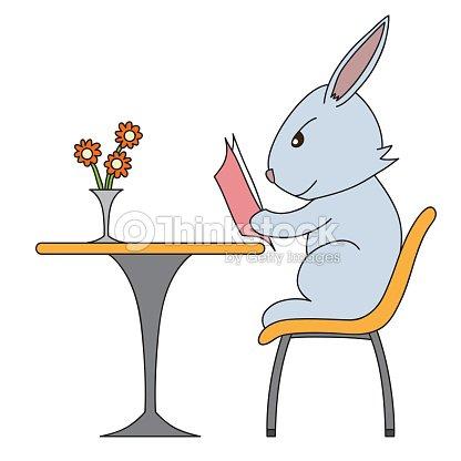 Lire Un Livre De Dessin Anime Lapin De Dessin Illustration