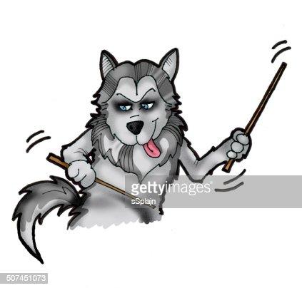 Comic Schlagzeuger Hund Sibirischer Husky Spielen Trommeln Stock