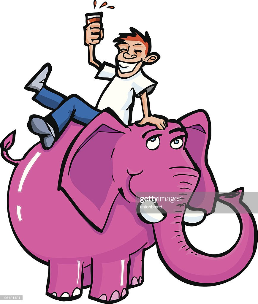 cartoon drunk on a pink elephant vector art getty images