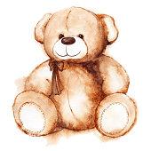 Cartoon lovely Teddy Bear toy Saint Valentine's day isolated.