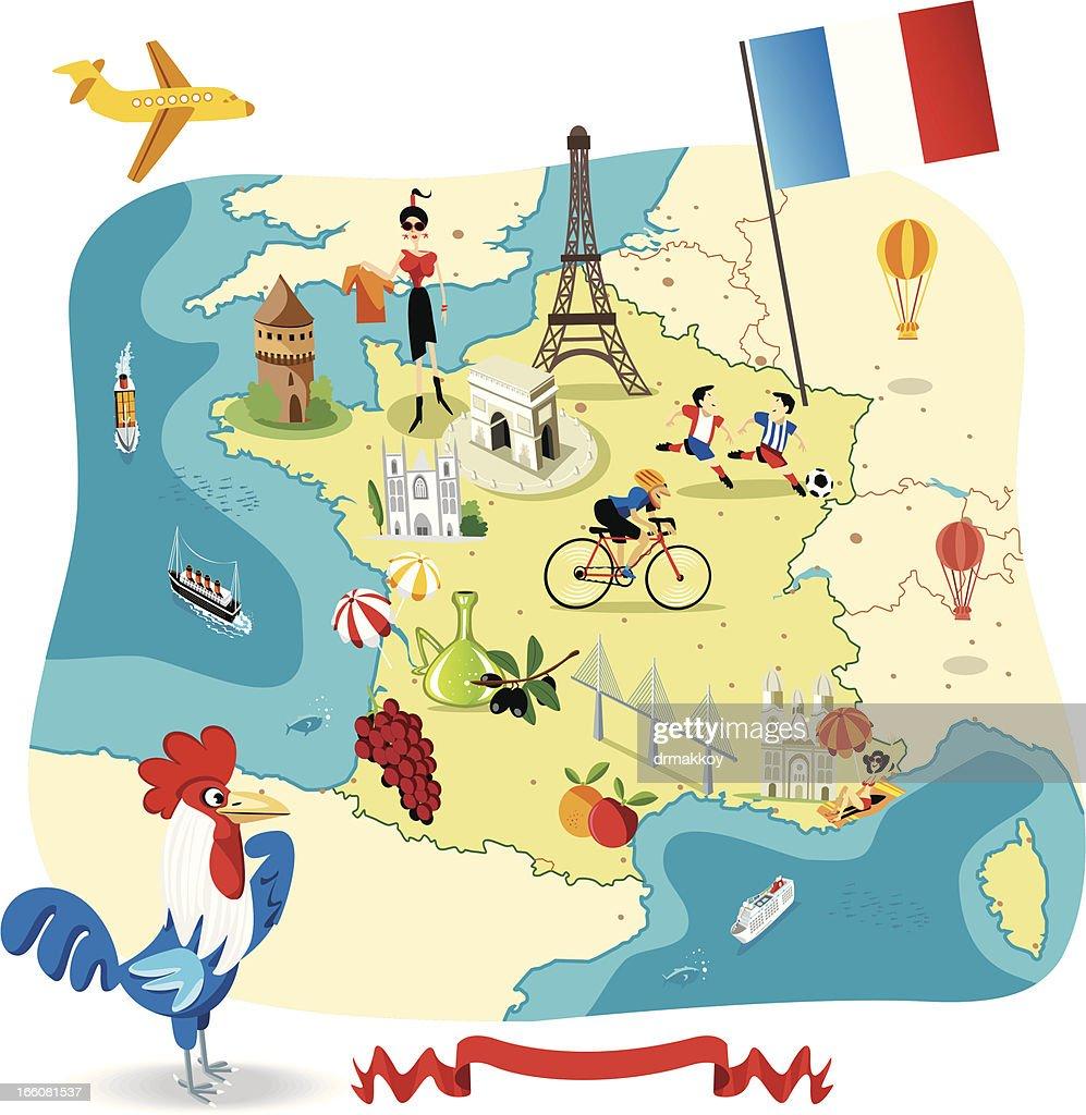 Cartoon map of FRANCE : Vector Art
