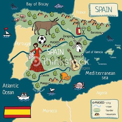 Map Of Coastal Spain.Cartoon Map Of Spain Stock Illustration Thinkstock