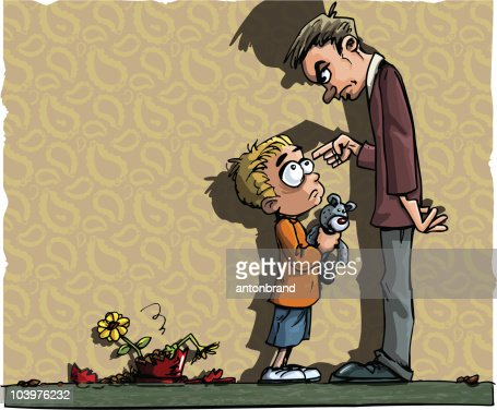 Cartoon of boy scolded by his dad : Vector Art