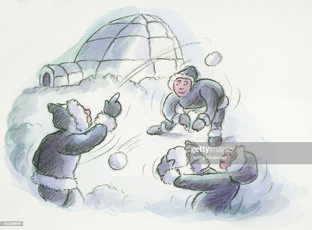 Cartoon of igloo and Inuits throwing snowballs : Stock Illustration