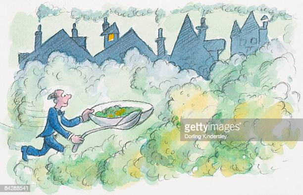 Cartoon of man running on yellowish-green smog caused by smoke from chimneys, holding over-sized bowl of pea soup and spoon