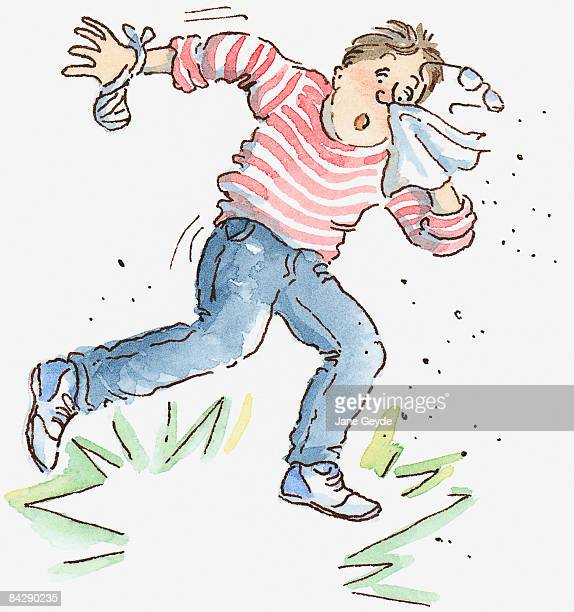 Cartoon of man sneezing holding handkerchief to face and falling backwards in shock and disbelief