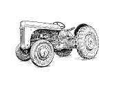 Old vintage tractor digital pen and ink illustration. Tractor was made in Dearborn, Michigan, United States or USA from 1939 to 1942 or 30's to 40's.