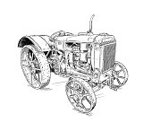 Old vintage tractor digital pen and ink illustration. Tractor was made in Chicago, Illinois, United States or USA from 1938 to 1939 or 30's.