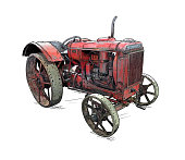 Old vintage red tractor illustration in cartoon or comic style. Tractor was made in Chicago, Illinois, United States or USA from 1938 to 1939 or 30's.
