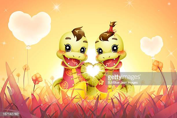 Cartoon snake in love for Chinese year of snake