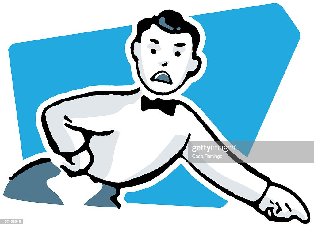 A cartoon style drawing of an unhappy looking man dressed in a suite with bowtie pointing his finger : Stock Illustration