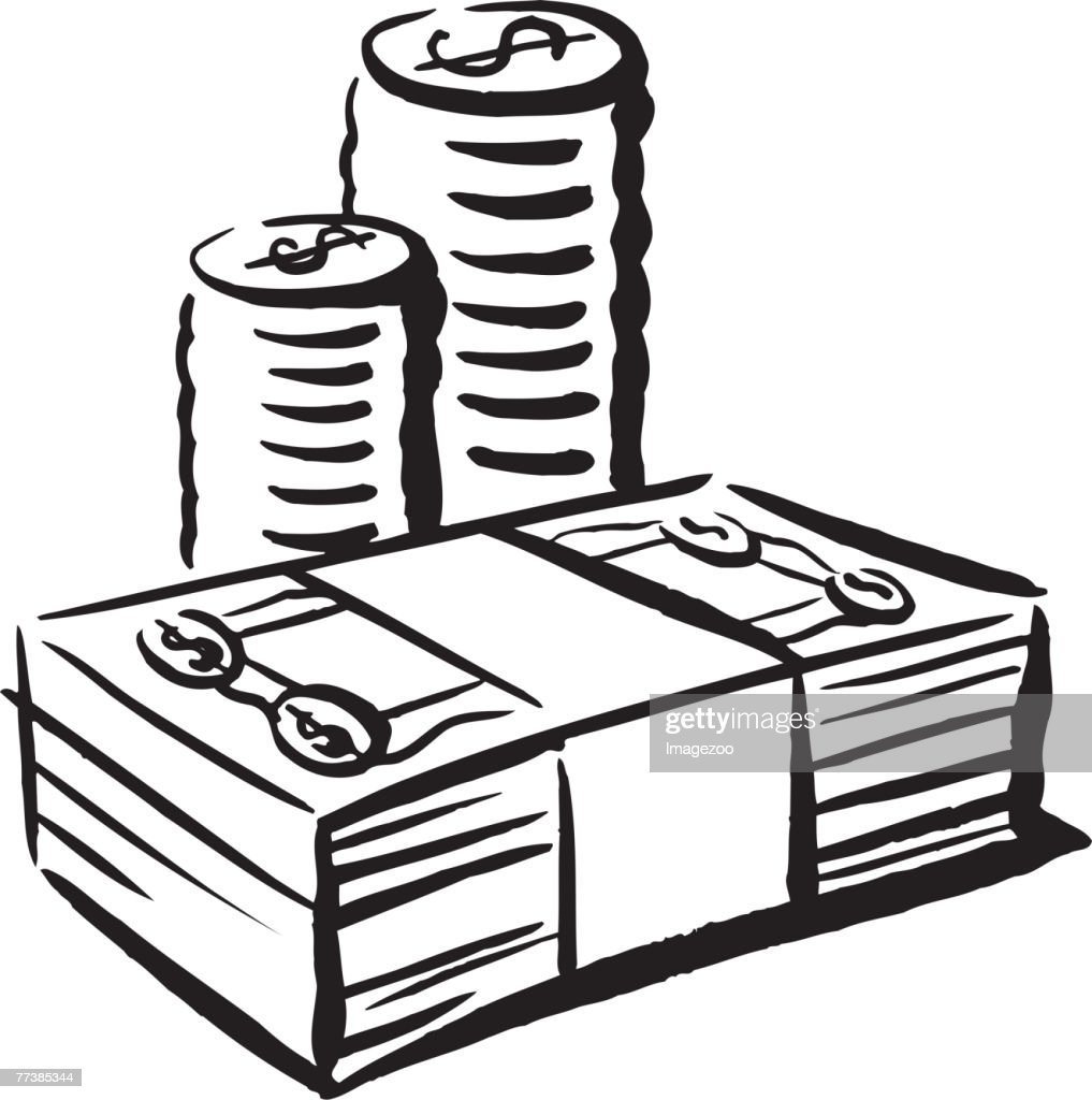 cash and coins b&w : Vector Art