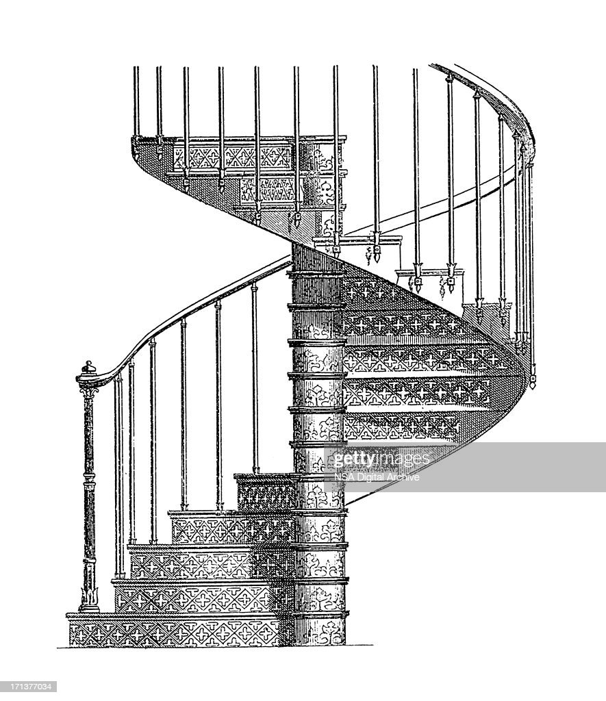 Cast Iron Spiral Staircase | Antique Architectural Illustrations : Stock  Illustration