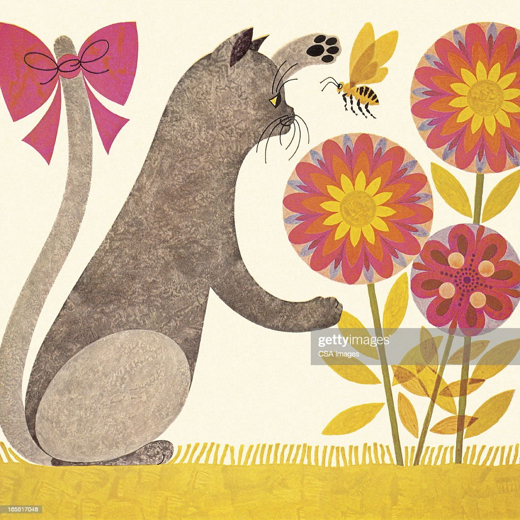 Cat Playing with Flowers : Stock Illustration
