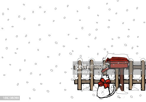 Cat sitting near a mailbox in snowfall : Stock Illustration