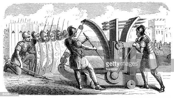 Katapult voor pijlen, gebruikt door de Romeinse soldaten in 210 v.Chr.