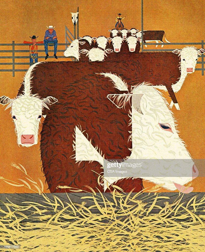 Cattle Ranch : Stock Illustration