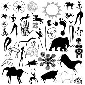 Various drawings - primitive art - cave paintings