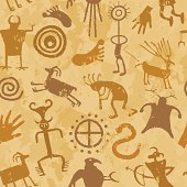 """""""Native American petroglpyhs wallpaper with human figures, weapons, signs, and animals on a tan background"""""""