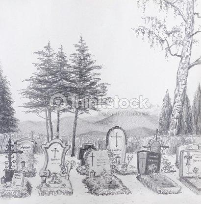 cemitério desenho a lápis ilustração de stock thinkstock