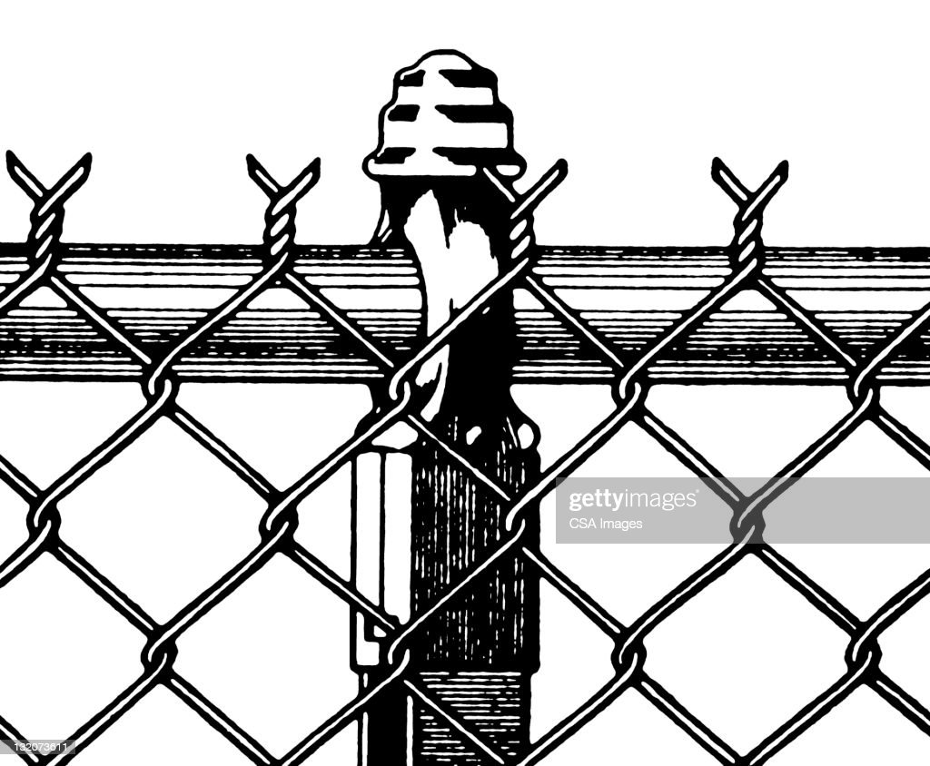 Chain Link Fence Section Stock Illustration | Getty Images