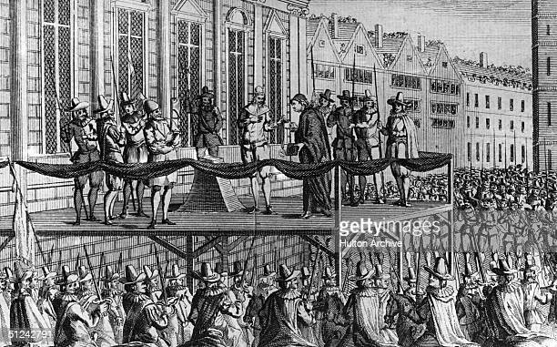 1649 Charles I king of Great Britain on the scaffold in front of Whitehall London on which he was executed Original Artwork A contemporary print