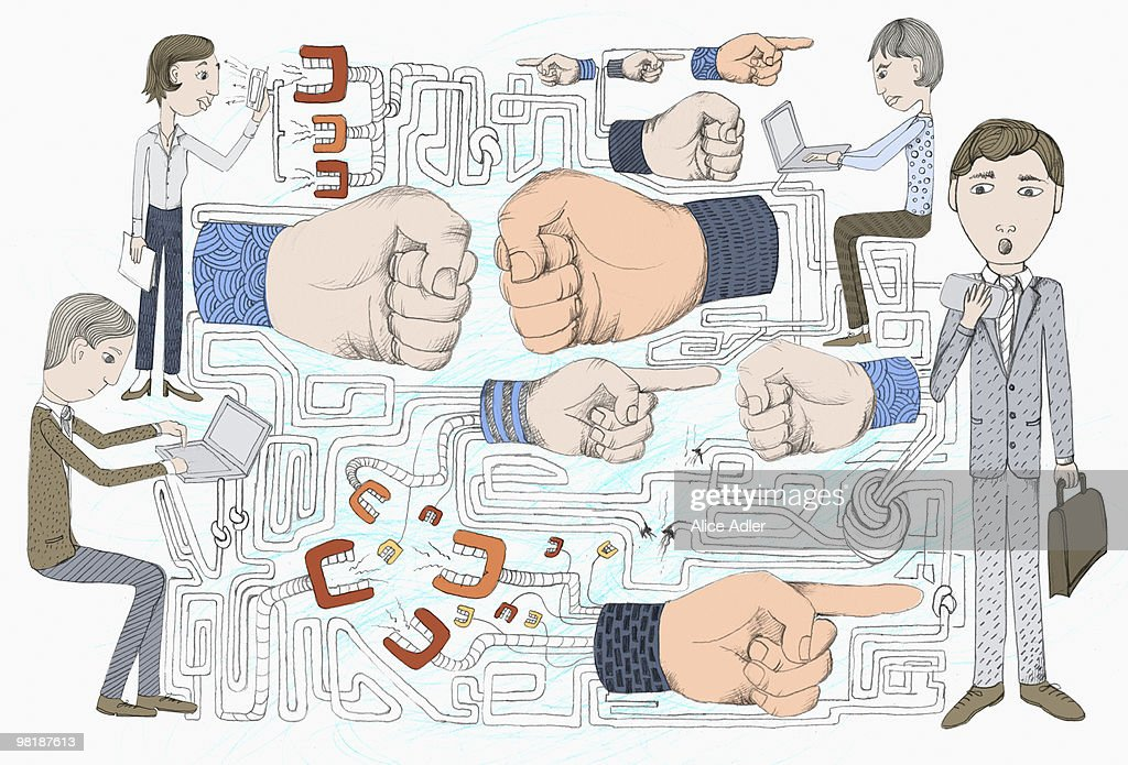 Chattering teeth, human hands gesturing, and people working : Stock Illustration