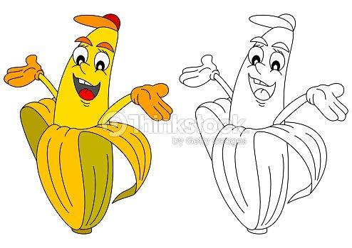 Alegre Amarillo Banana Como Un Libro Para Colorear Con Los Niños ...