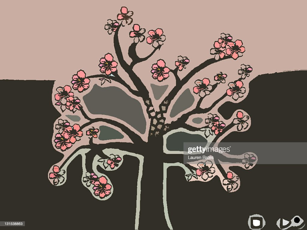 Cherry blossom tree : Stock Illustration