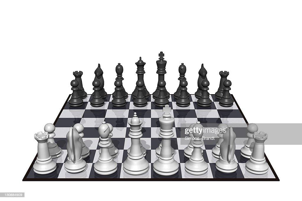 Chess figures on chess board, 3D Illustration : Stock Illustration