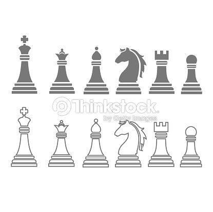 chess pieces including king queen rook pawn knight and. Black Bedroom Furniture Sets. Home Design Ideas