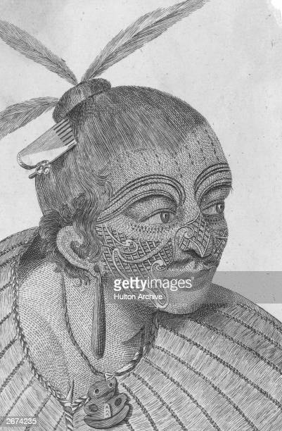 A chief of the Maori people of New Zealand with facial markings