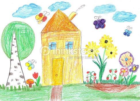Figlio Di Disegno Di Una Casa Illustrazione Stock Thinkstock