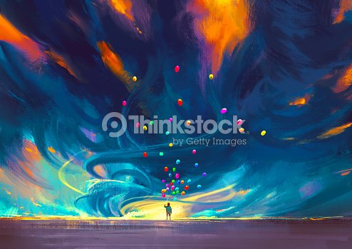 Child Holding Balloons Standing In Front Of Fantasy Storm