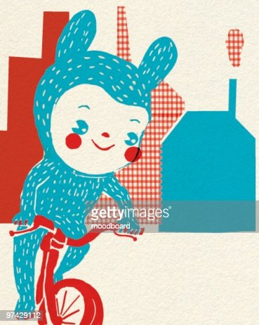 Child in costume balances on bike outside houses : Stock-Illustration