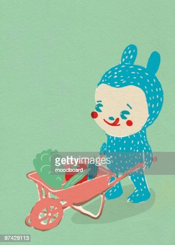 Child in costume pushes a wheelbarrow : Illustrazione stock