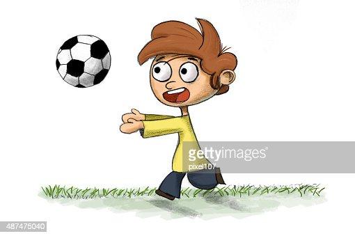 Nino Jugando Futbol Ilustracion De Stock Thinkstock