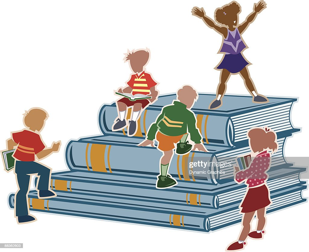 Book color illustrator - Children And Giant Books Color Illustrator Ver 5 Layered Challenge Your Mind With A Book