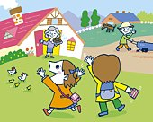 Children coming home, Painting, Illustration, Illustrative Technique