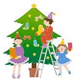 Children decorating Christmas tree, Illustration