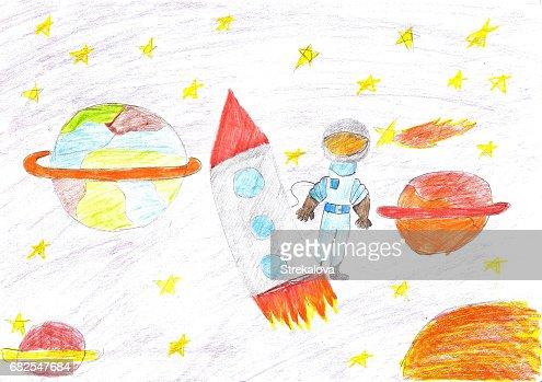Children drawing space planet rocket : stock illustration