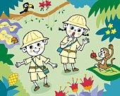 Children exploring in jungle, Painting, Illustration, Illustrative Technique, High View