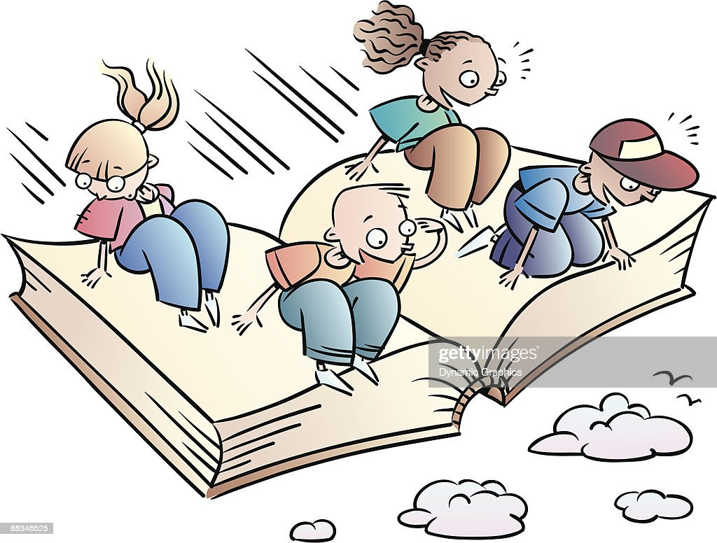 Book color illustrator - Children Flying On Book Color Illustrator Ver 5 Grouped Elements Reading Its An Adventure