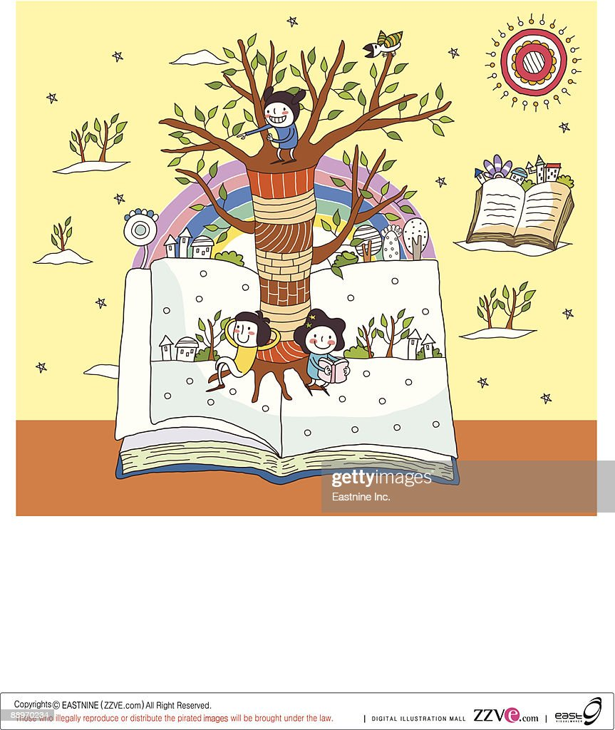 Children On Open Book By Tree Trunk Vector Art | Getty Images