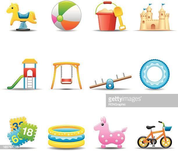 I bambini giocano icona Set/attrezzature elegante serie
