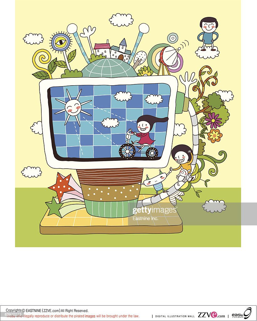 Children playing by television set : Vector Art